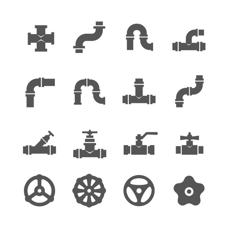 canalization: Valve, taps, pipe connectors, pipe details vector icons set. Set of pipe and tube with valve illustration