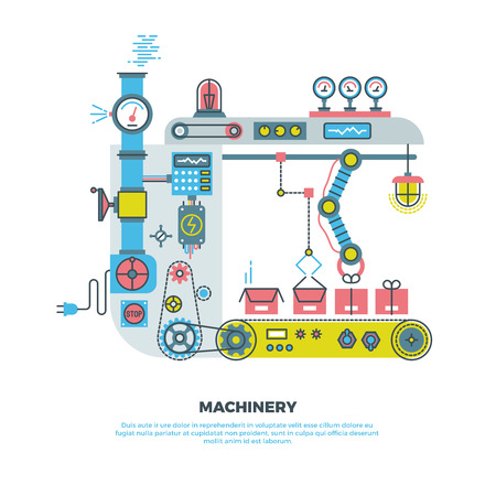 Robotic industrial abstract machine, machinery in vector flat style. Industrial machinery robot illustration and conveyor machinery technology