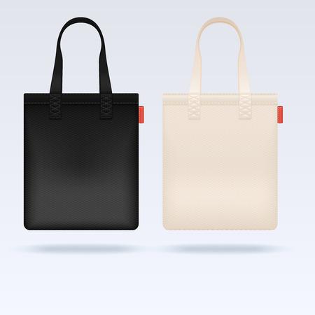 White and black fabric cloth tote bags vector mockup. Realistic illustration bag, mockup of shopping bag Illustration