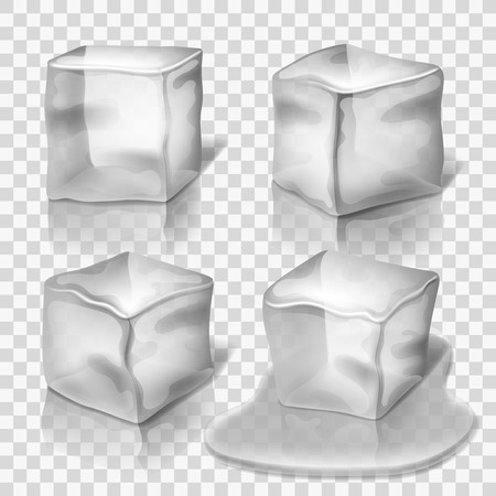 freeze: Transparent colorless ice cubes vector set. Block solid cold illustration and cube crystal freeze Illustration