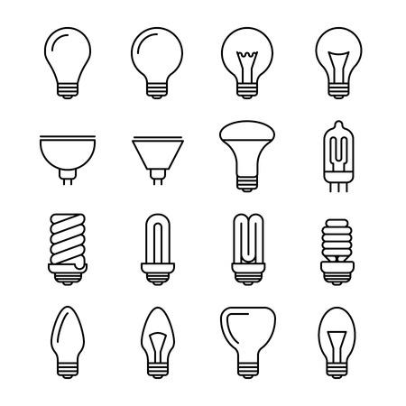 ampoule contour icônes vectorielles. L'énergie et la puissance ampoule illustration. Lampe fluorescente et halogène lightbulb