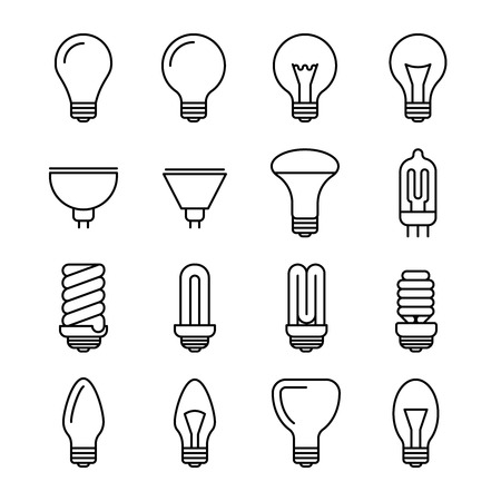 halogen: Light bulb outline vector icons. Energy and power lightbulb illustration. Fluorescent and halogen lightbulb lamp