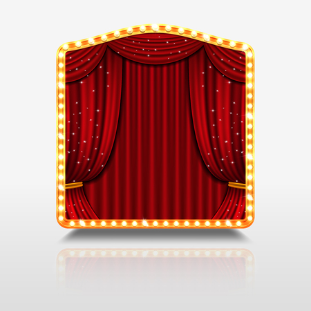 premiere: Stage curtain in shining banner with golden frame. Stage with red curtain for concert theatre, shining stage for event premiere. Vector illustration