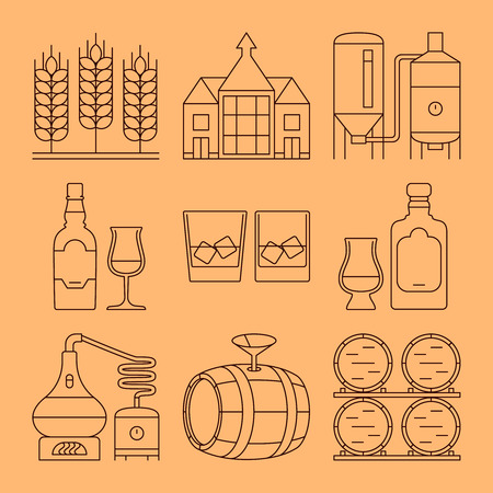 bourbon whisky: Whisky line vector icons set. Whisky process and industry outline symbols. Vector illustration