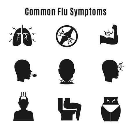 influenza: Flu influenza sickness symptoms vector icons. Influenza symptom collection and infection influenza and cough illustration Illustration