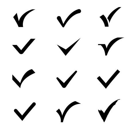 confirm: Confirm tick mark vector icons set. Sign ok and confirm, tick check mark confirm illustration