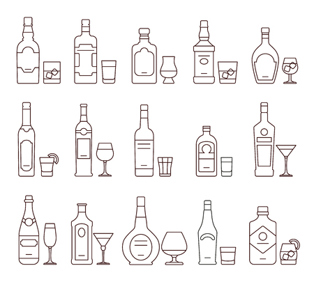 wine bottles: Alcohol drink beverages outline icons, bottles and glasses thin line symbols. Beverage alcohol bottle and glass, illustration set of beverage Illustration