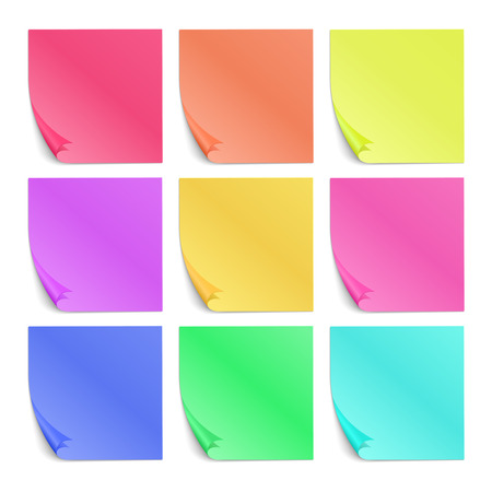 Color post its paper stickers for notes vector set. Note reminder papers with curled corner illustration