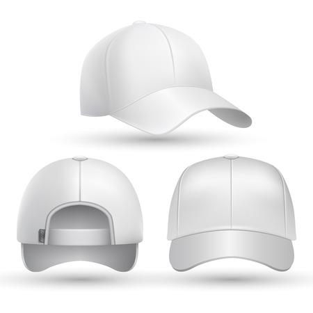 Realistic baseball cap front, side, back views set. Fashion cap baseball for sport, mockup of white cap. Stock vector illustration Vectores
