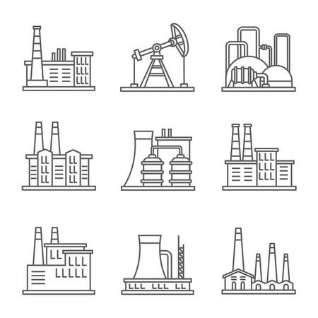 heavy set: Heavy industry power plant and factory thin line vector icons. Set of nuclear factory, illustration power industry of factory