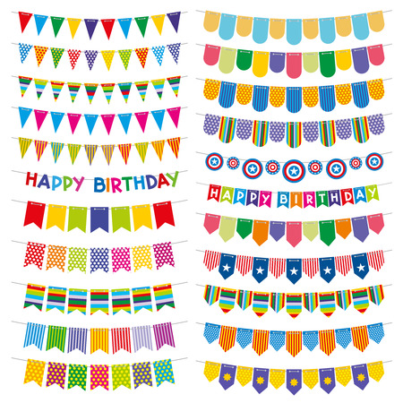 hanging string: Colorful bunting flags and garlands. Birthday and party vector decoration. Color pattern flag on string, carnival decoration flag hanging illustration Illustration