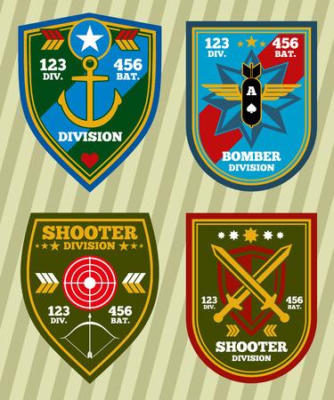 insignia: ejército militar unidad especial de la marina y parches, emblemas conjunto de vectores. Insignia de la división militar y las militares para la ilustración del vector del ejército