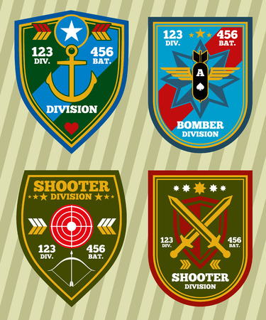 Special unit military army and navy patches, emblems vector set. Badge for military division and insignia military for army vector illustration