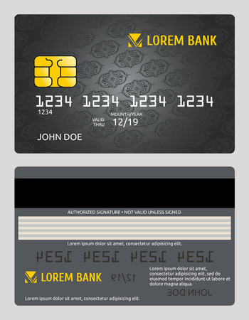 debit: Commercial bank credit card isolated sales model vector template. Debit plastic card and classic personal bank card illustration