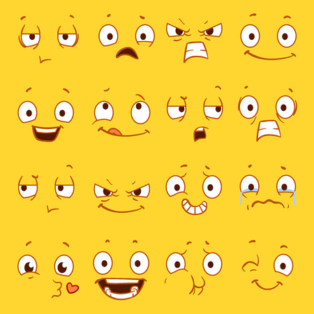 cartoon emotions: Cartoon faces with different expressions vector set. Sad and happy emotions faces, angry and funny smile emotion illustration Illustration