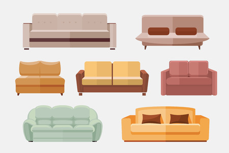 couches: Sofa and couches furniture flat icons set. Furniture sofa for home interior. Set of icon sofa for room illustration