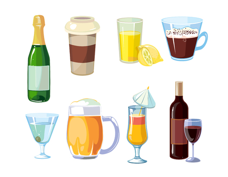 non alcoholic: Alcoholic and non alcoholic drinks. Different beverages with bottles and glasses.
