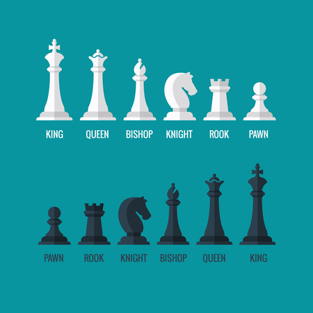 Chess pieces king queen bishop knight rook pawn flat icons set. Chess figures black and white. Team with chess pieces illustration