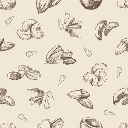 main Nuts doodles seamless pattern tirées. Almond et l'écrou de noix de pécan, motif sans fin avec illustration noix Vecteurs