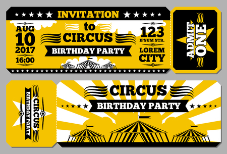 circus ticket: Circus ticket birthday card mockup. Invitation to birthday, illustration invitation template for circus