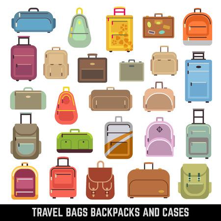 Reisetaschen Rucksäcke und Koffer Farbe Vektorgrafik