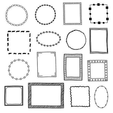 Hand drawn doodle frames, borders vector set. Frame sketch for decoration, drawing frames in form square and circle illustration