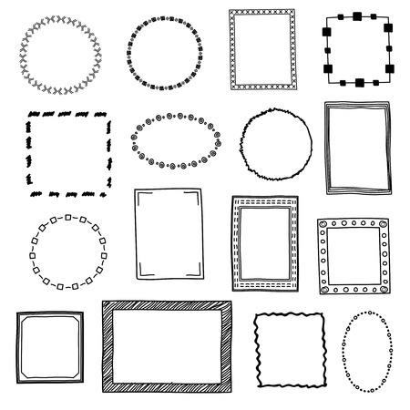 Hand gezeichnet Doodle Rahmen, Grenzen Vektor gesetzt. Rahmen Skizze für die Dekoration, Zeichnungsrahmen in Form Quadrat und Kreis Illustration Standard-Bild - 60003080