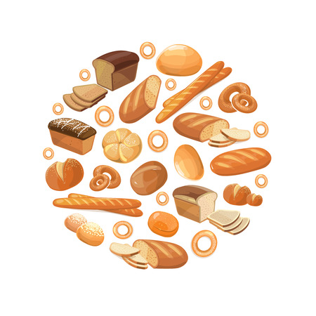 bagel: Food bread rye wheat whole grain bagel sliced french baguette croissant vector icons in circle. Bakery products for breakfast, illustration of loaf and snack bakery