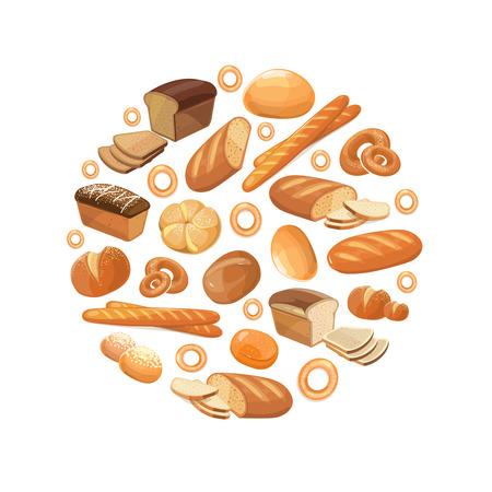 produits céréaliers: pain de blé alimentaire de seigle à grains entiers bagel tranché français baguette croissant vecteur icônes dans le cercle. Produits de boulangerie pour le petit déjeuner, illustration de pain et un snack-boulangerie
