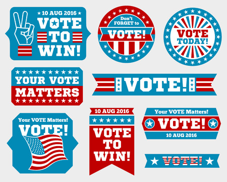 president of the usa: American presidential election 2016 badges and vote labels. Badges and signs for presidential election. Symbols of USA president election. Vector illustration