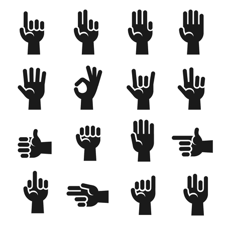 ok sign language: Hands icons set finger counting, stop gesture, devil horns, okay, v sign vector set. Human hand and communication gesture with hand illustration Illustration