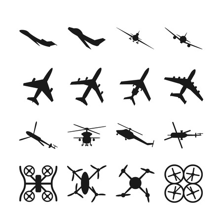 military aircraft: Aircrafts, helicopters, drones black vector icons. Set of aircraft quadrocopte and helicopter. Military aircraft illustration Illustration