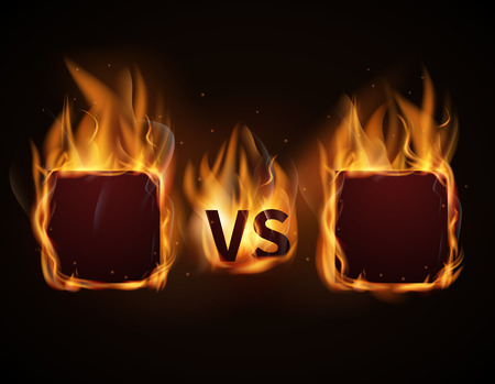 duel: Versus screen with fire frames and vs letters. Flaming VS screen for duel and confrontation. Vector illustration Illustration