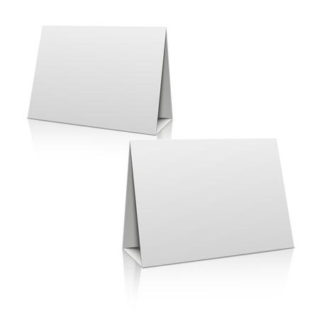 blank poster: Blank white paper stand table holder card. 3D vector design template. Mockup blank for brochure or card, illustration horizontal poster Illustration