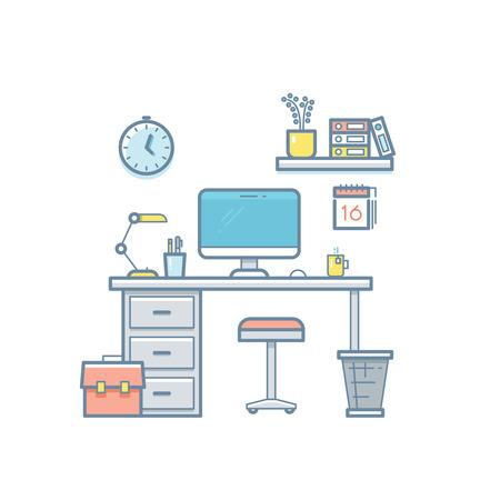 developer: Workspace with desktop computer. Web coder workplace tools, software equipment, workspace for developer thin line flat vector interior illustration Illustration