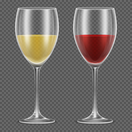 wineglasses: Realistic vector wineglasses with red and white wine on checkered background. Wine in glass vector illustration