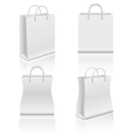 merchandise: White realistic blank paper shopping bags vector set. Paper bag for shopping, illustration bag for merchandise