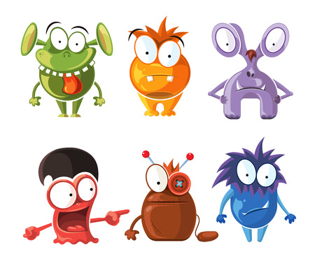 grimace: Cartoon cute character monsters vector set. Crazy monsters with funny grimace, bizarre monster illustration