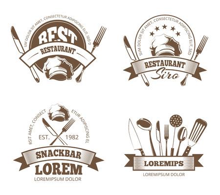 Vector restaurant labels, emblemen, badges, logo's voor menu design. Embleem voor restaurant of snackbar, logo en sticker voor restaurant menu illustratie