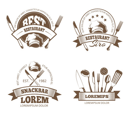 Vector restaurant labels, emblems, badges, logos for menu design. Emblem for restaurant or snackbar, logo and sticker for menu restaurant illustration