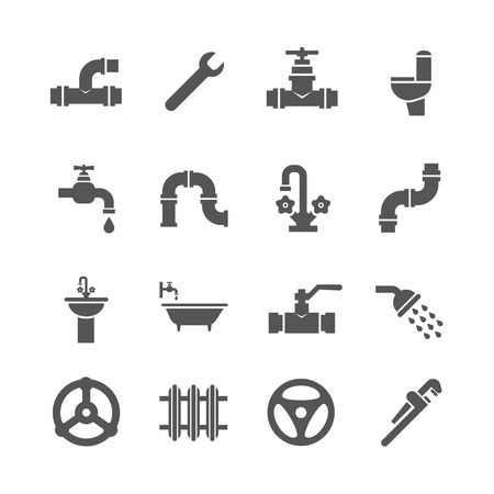 sanitary engineering: Plumbing service objects, tools, bathroom, sanitary engineering vector icons. Plumbing for bathroom, set of icon plumbing pipe illustration