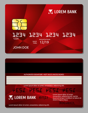 operation for: Credit cards two sides design vector illustration for your business. Electronic card for banking operation and plastic card bank