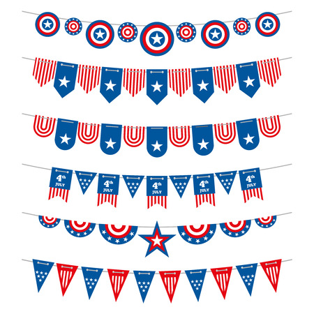 Patriotic bunting american flags garlands for USA independence day 4th july and presidential elections. Flag to independence day usa, garlands and flags decoration patriotic. Vector illustration Illustration