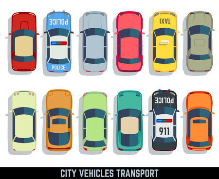 establecen coches vista superior de la ciudad de vectores iconos plana transporte de vehículos. automóvil para el transporte, icono del coche automático ilustración