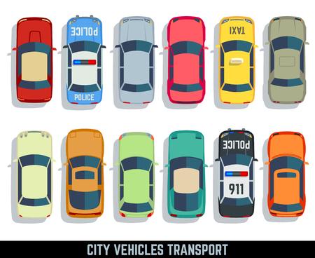 Voitures top view vecteur ville plat transport véhicule icons set. voiture automobile pour le transport, auto icône car illustration