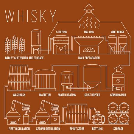 destilacion: Whisky proceso de producción de vectores plantilla de infografía. proceso de whisky ilustración de destilación, bebidas producción de whisky en el estilo lineal