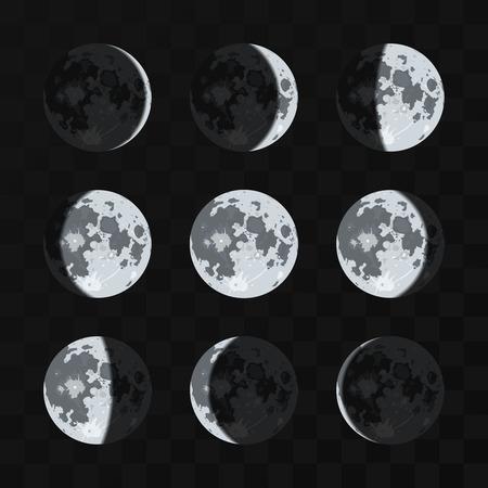 Moon phases vector set. Night moon and nature full moon illustration 向量圖像
