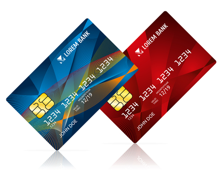 Credit card isolated on white vector illustration. Debit card for business, card model for payment Illustration
