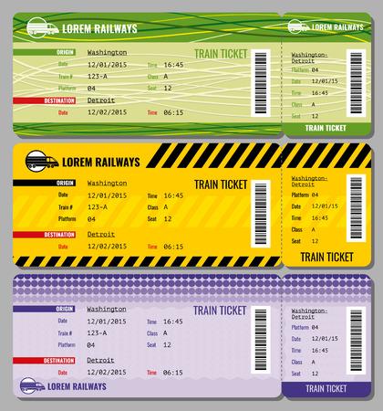 Entraînez millésime billets de voyage vector set. Ticket pour former et un ensemble d'illustrations pour accélérer les billets de train