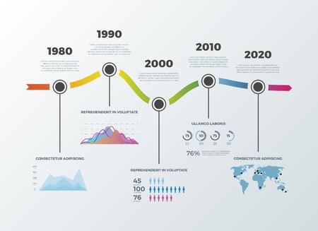decade: Road timeline infographic for workflow layout banner diagram number options. Timeline decade diagram and statistic presentation timeline. Vector illustration Illustration